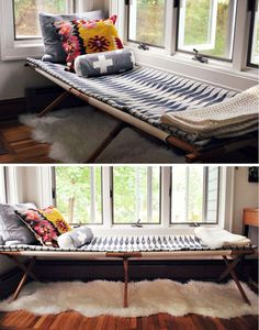 cot as a guest bed/living room fixture Style At Home, Home Interior, Interior Design, Sleeping Porch, Living Spaces, Living Room, Guest Bed, Guest Rooms, Deco Design