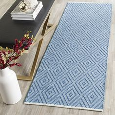 Safavieh Montauk Collection MTK811B Handmade Flatweave Blue and Ivory Cotton Runner 23 x 7 *** Check this awesome product by going to the link at the image. (This is an Amazon Affiliate link)