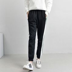 Spring Winter Sweatpants Women Casual Harem Pants Loose Trousers For Women Black Striped Side Sweat Pants Female Plus Size S-XXL