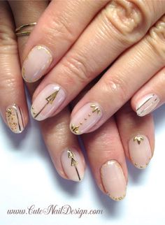 ♥Cute Nail Design♥ » Pictures of Pretty Nail Designs » Simple Golden Nails by Emi Japanese Nail Design, Japanese Nails, Pretty Nail Designs, Simple Nail Designs, Cute Nails, Pretty Nails, Golden Nails, Nail Designs Pictures, Nail Design Video