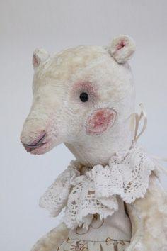 Bear Miss Sugar-Teddy bear-growler-handmade-stuffed-interior toy-personalized-un £60.00