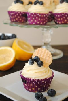 Blueberry Cupcakes with Lemon Cream Cheese Frosting | Foxes Love Lemons
