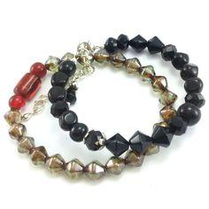 Komplet bransoletek z kamieniami korala i perłami słodkowodnymi