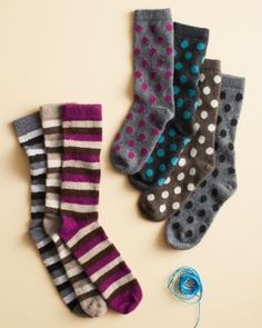 Garnet Hill Cashmere-Blend Novelty Socks--Cashmere blend and polka dots for my feet?  Yes, please, and thank you!