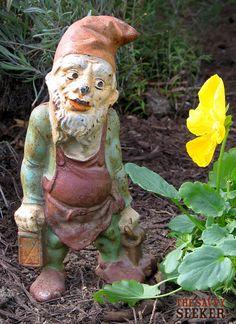 gn8 gorgeous garden gnome dwarf hold basket antique german 1910 s or older. Black Bedroom Furniture Sets. Home Design Ideas