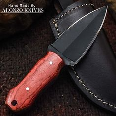 ALONZO KNIVES USA CUSTOM HANDMADE TACTICAL DAGGER 1095 KNIFE PAKKA WOOD 2048 #AlonzoKnives