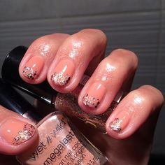 """Simple yet chic #manicure with some #glam - Wet n Wild Megalast """"Private viewing"""" sponged with with Maybelline Color Show """"Gilded rose"""". Finished up with #flormar 4in1 topcoat. #maybelline #wetnwild #nudenails #mani #nail #nails #nailporn #instanails #glitter #nailfie #nailswag #glitters #nailpolish #nailpolishes #nailpolishaddict #polishaddict #nailpolishmaniac #polishmaniac #nudemanicure #notd #nailsoftheday #nailart #manicureoftheday #nailpolishjunkie #manicureaddict"""