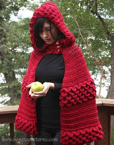 ABOUT THIS PATTERN: The Crocodile Stitch hooded Cape is straight out of a fairy tale. The crocodile stitch featured in this hood is much easier to crochet than