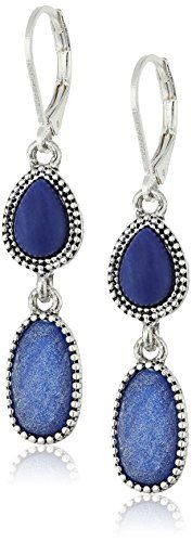 Nine West SilverTone and Blue Drop Earrings -- Click image for more details. (This is an affiliate link and I receive a commission for the sales)