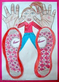 LOVE the perspective on this activity! Kids' shoe and hands tracings, then the body in foreshortening!