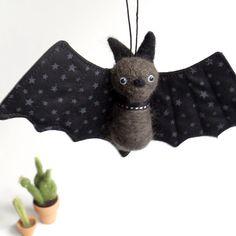 Felt animal ornament  FUZZ bat  gray bat with stars by fuzzonme