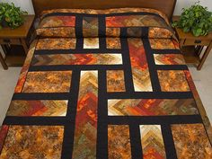 Autumn Paths Quilt -- superb meticulously made Amish Quilts from Lancaster (hs5731)