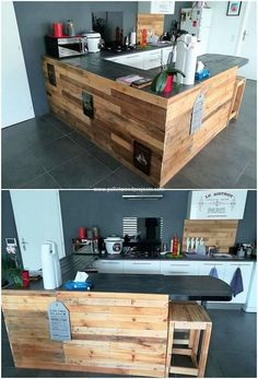 As in favor of your house furniture set, including the creative effect of the wood pallet counter table is much an attraction option for you. This pallet counter table is giant in size and simple in terms of designing. You will be finding the whole structuring of the counter table to be much modish looking.