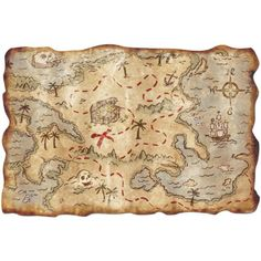 print out treasure map and laminate for decor