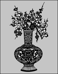 Vase & Cherry Blossom (Silhouette) stencil from The Stencil Library online catalogue. Buy stencils online. Stencil code CH74S.