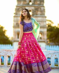pink printed banglori silk festival lehenga choli WhatsApp us for Purchase & Half Saree Lehenga, Lehnga Dress, Indian Lehenga, Bridal Lehenga Choli, Silk Lehenga, Sari, Lehenga Blouse, Lehenga Skirt, Patiala Dress