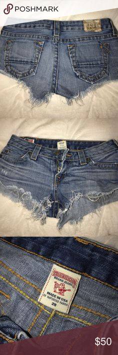 True religion dark denim shorts These true religion dark denim shorts are my absolute favorite pair of shorts! Due to having my baby boy they unfortunately don't fit me anymore and need to be worn with someone else now❤️ True Religion Shorts Jean Shorts