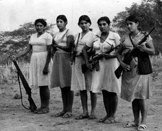 Women in the FMLN (Farabundo Martí National Liberation Front) guerrilla movement in El Salvador.
