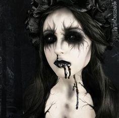 With red lipstick and blood lk Demon Makeup, Zombie Makeup, Fx Makeup, Airbrush Makeup, Glam Makeup, Amazing Halloween Makeup, Scary Halloween Costumes, Halloween Face Makeup, Haunted House Makeup