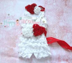 White and Red hearts Romper set