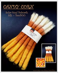 CANDY CORN: Hand-Crafted Rolag Set w/ Solar Dyed Polwarth/Merino/Silk/Bamboo/Firestar on Etsy, $17.50