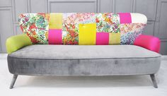 floral neon patchwork sofa • designed by Name Design Studio (interior architect Jo Supara and Ali Tarakci) • custom-made