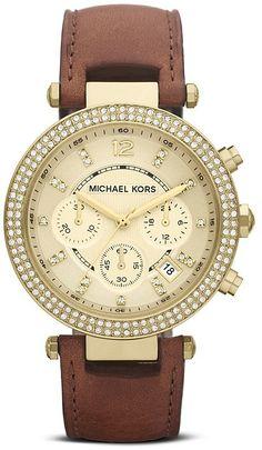 Michael Kors Leather Parker Glitz Watch, 39mm
