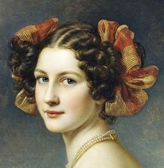 """gailcarriger: """"antique-royals: """"Joseph Karl Stieler ,Schloss Nymphenburg (Castle), Schonheitengalerie (Gallery Of Beauties)(details). """" Hairstyles similar to those the girls where in the Finishing School series. Classic Paintings, Old Paintings, Beautiful Paintings, Female Portrait, Portrait Art, Female Art, Victorian Hairstyles, Vintage Hairstyles, Historical Hairstyles"""