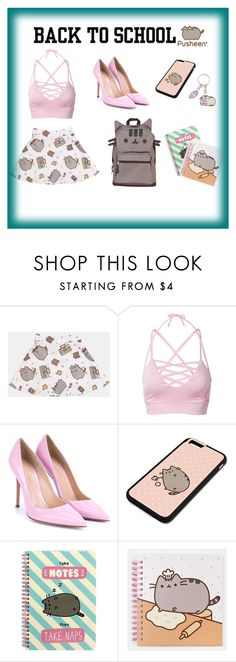 """""""#PVxPusheen Back To School Outfit"""" by beatrizcorreiagoncalves ❤ liked on Polyvore featuring Pusheen, Gianvito Rossi, contestentry and PVxPusheen"""