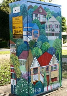 """""""Queensland Colours"""" [Debra Hood] represents the unique Brisbane architectural styles of the Colonials, Cottages and Queenslanders that abound our inner-city suburbs. Beautiful Artwork, Cool Artwork, Beautiful Images, Queenslander House, Graffiti Cartoons, Installation Art, Art Installations, Public Art, Artist Painting"""
