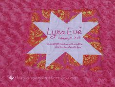 Star Label--Piece this block into your backing.  Quilt over it.