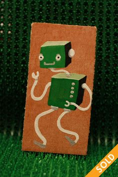 Robot Wooden Tags, Gingerbread Cookies, Drink Sleeves, Robot, Hand Painted, Fall, Autumn, Ginger Cookies, Fall Season