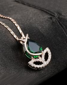 Rose Gold Plated CZ Green Necklace