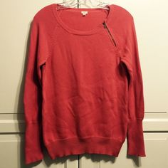 J. Crew Zipper Sweater Rosey Coral sweater by J. Crew with should zipper detail. Soft cotton blend. Long sleeves. About 26 inches in length. J. Crew Sweaters Crew & Scoop Necks