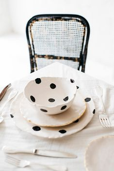 Polka Dot Plates and Bowls + Home Decor Accessories
