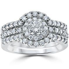 Bliss 10k White Gold 1 1/10Ct Round Cut Diamond Trio Halo Engagement Guard Wedding Ring Set (I-J, I2-I3) (Size 6.5), Women's (solid)