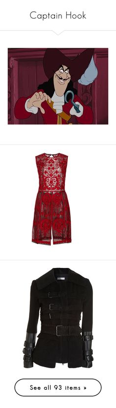 """""""Captain Hook"""" by happy-fashionx ❤ liked on Polyvore featuring disney, peter pan, dresses, vestidos, red, red open back dress, embroidered dress, naeem khan, sleeveless dress and no sleeve dress"""