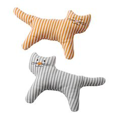 IKEA LEKA Rattle Cat Low sound level, adapted to sensitive baby ears. Leka Rattle, Cat / 2 Pack - Ikea: Adorable, soft fabric striped cat rattles pack) perfect for infants and toddlers. The sound level of the rattle is soft, and perfect for a baby's sensi Doll Clothes Patterns, Doll Patterns, Baby Design, Fabric Toys, Scottie Dog, Sewing Toys, Soft Dolls, Softies, Baby Shower Decorations