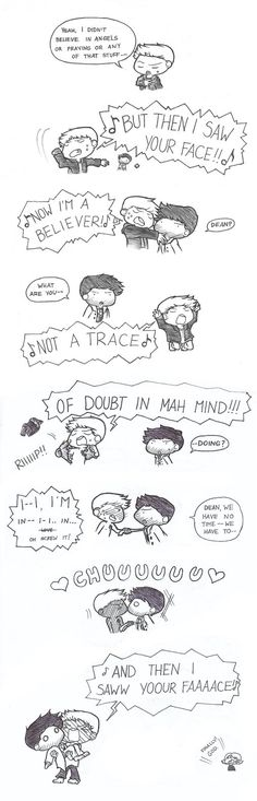 Destiel by VaryuPon on deviantART | omigod sam in the background… XD