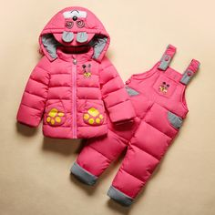 2017 RUSSIA WINTER GIRL'S CLOTHING SETS BABY BOYS JUMPSUITS -30 DEGREE DOWN FEATHER JACKETS/COATS+ROMPERS SNOW WARM CLOTHES Price - $38.40