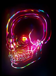 Electro Laser Rainbow Skull by thirdeyeimages