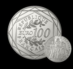 République française ~ Cette monnaie de 100 € en argent présente une réinterprétation contemporaine du symbole de l'Hercule. Elle s'inscrit dans la lignée des anciennes pièces de 10 F, 50 F et 100 F en argent.
