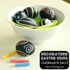 Chalkboard Paint Easter Eggs. Love this idea!!!
