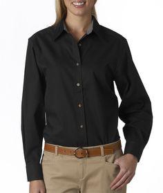 Ladies Gabardine Shirt | Buy wholesale ultraclub ladies sanded gabardine long-sleeve shirt at Gotapparel.com