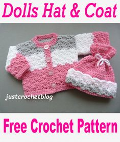 Free crochet pattern for a dolls hat and coat. Available on Free crochet pattern for a dolls hat and coat. Crochet Baby Jacket, Crochet Baby Sweaters, Crochet Coat, Crochet Doll Clothes, Crochet Baby Cardigan Free Pattern, Knitting Dolls Clothes, Crochet Doll Dress, Crochet Hooks, Crochet Dolls Free Patterns