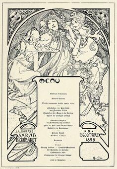 https://flic.kr/p/bqhpCD | Menu by Mucha, 1896 | From Les Menus & Programmes Illustrés - Invitations - Billets de Faire-Part - Cartes d'Adresses - Petites Estampes du XVIIème Siècle jusqu'à nos jours. By Léon Maillard. Published 1898 by G. Boudet, Paris.