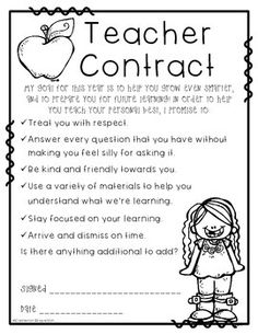 Teacher and Student Contract FREEBIE to establish rapport, ownership, and accountability for learning and teaching within your classroom!