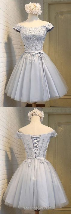 A-line Off-the-shoulder Satin Tulle Short/Mini Sashes / Ribbons For Cheap Prom Dresses - - Grey Prom Dress, Off the Shoulder Prom Dresses, Short Homecoming Dress, Tulle Homecoming Dresses, Satin Cocktail Dresses Source by usamiusagi Grey Prom Dress, Hoco Dresses, Cheap Prom Dresses, Trendy Dresses, Elegant Dresses, Dance Dresses, Cute Dresses, Vintage Dresses, Beautiful Dresses