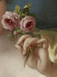 Girl with Roses (detail), Workshop of Francois Boucher, oil on canvas c. 1760s #hands #fingers #mani #main #art - Carefully selected by GORGONIA www.gorgonia.it