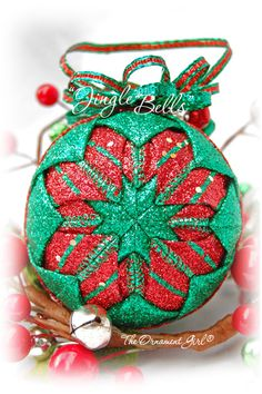 Jingle Bells  Glittering Red and Green Christmas Ornament